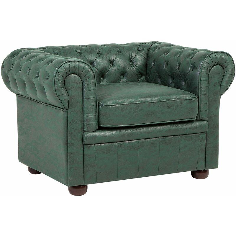 Beliani - Sessel Grün Leder-Optik Englischer Stil Wohnzimmer Salon