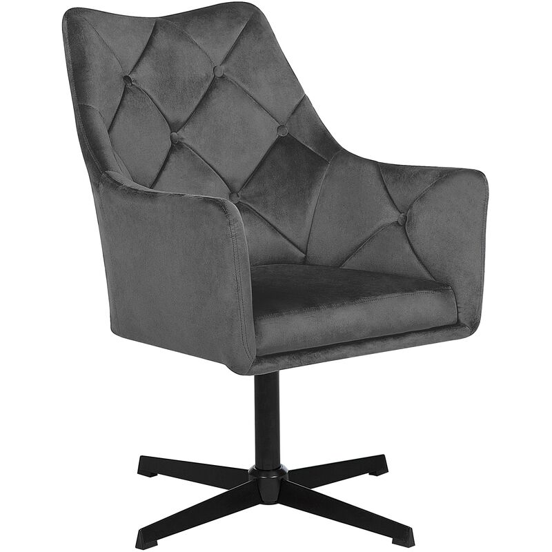 Sessel Grau Samtstoff Metall 360 Grad drehbar dekorative Versteppung auf Rückenlehne - BELIANI