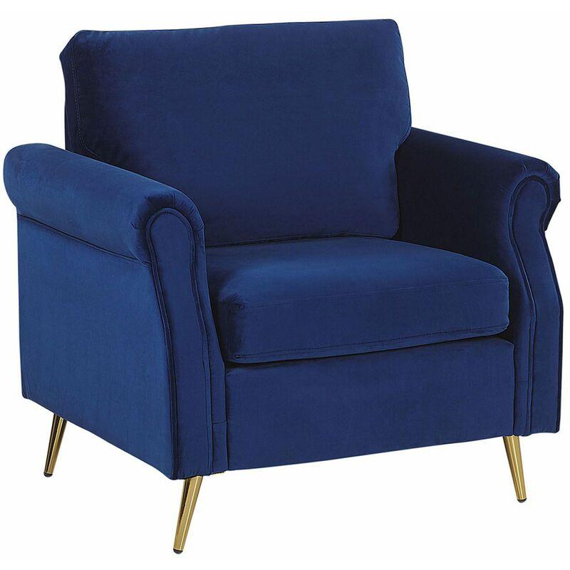 Sessel Kobaltblau Samtstoff mit Goldenenbeinen/ Armlehnen in Retro-Stil Wohnzimmer Salon Flur Skandinavisch Modern - BELIANI