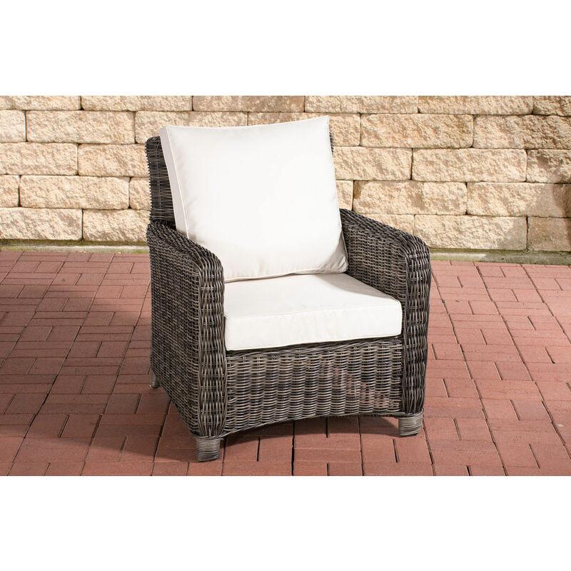 CLP - Sessel San Fernando-rund/graumeliert-Cremeweiß