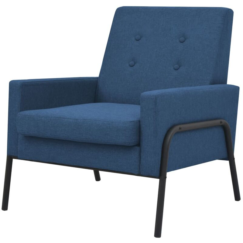 Vidaxl - Sessel Stahl Stoff Blau