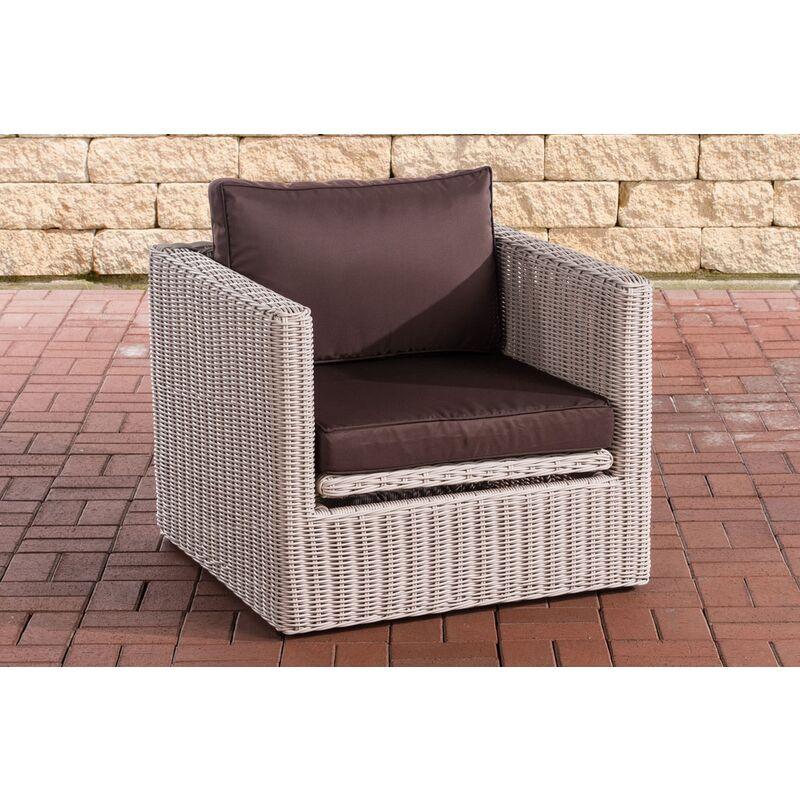 CLP - Sessel Tibera 5mm-rund/perlweiß-Terrabraun