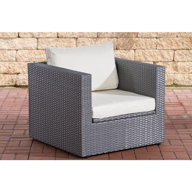 CLP - Sessel Tibera-grau/flach-Cremeweiß