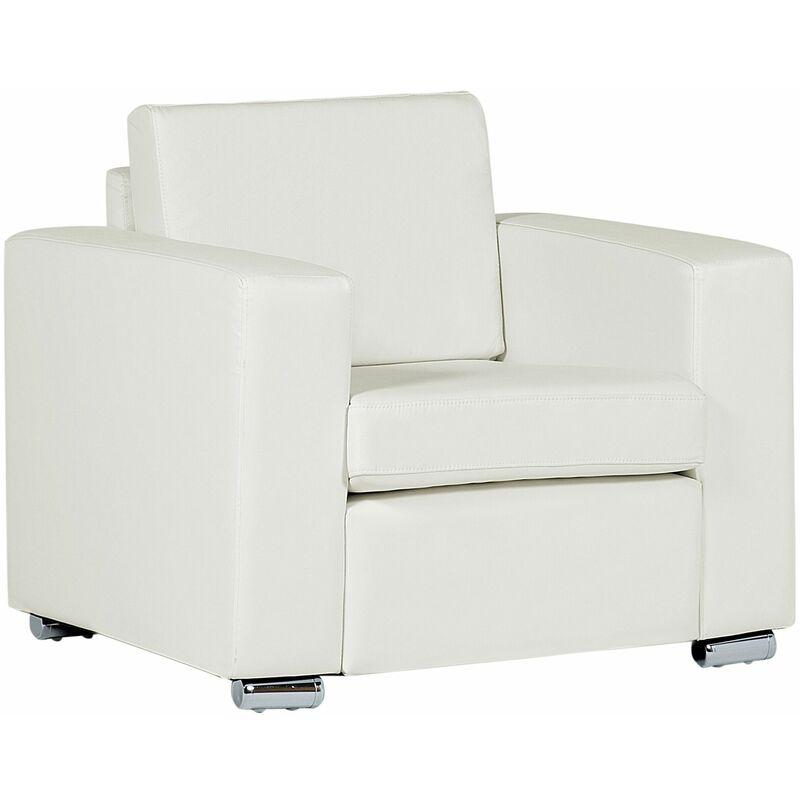 Sessel Weiß Echtleder Stahl Armlehnen Wohnzimmer Salon - BELIANI