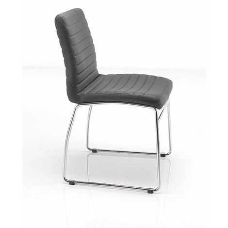 Sestri Chair Black Padded Seat And Back Chrome Legs And Frame