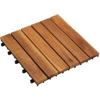 Set 10 baldosas de acacia con modelo vertical, 30 x 30 cm