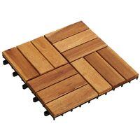 Set 10 baldosas de madera de acacia, 30 x 30 cm