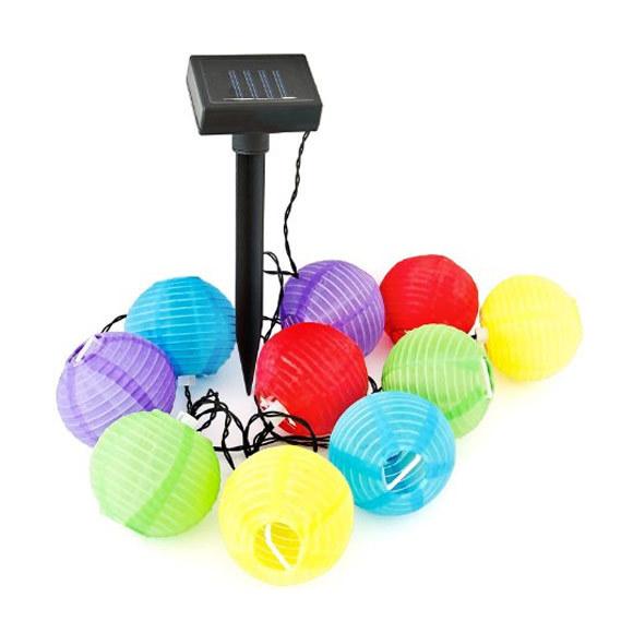 Set 10 Lanterne A Energia Solare Multicolor 240cm Per Giardino Outdoor Lights