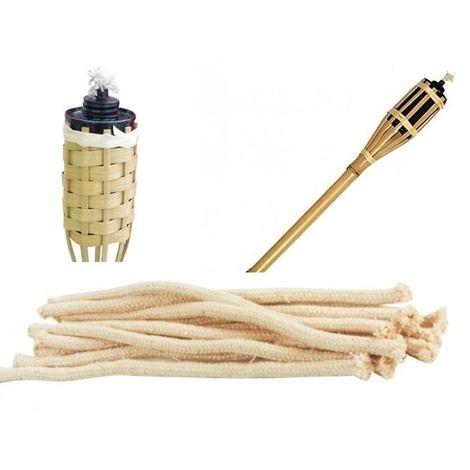 Set Da Giardino In Bamboo.Set 10 Stoppini Di Ricambio Cm 22 Per Torce Ad Olio Da Esterno Bamboo