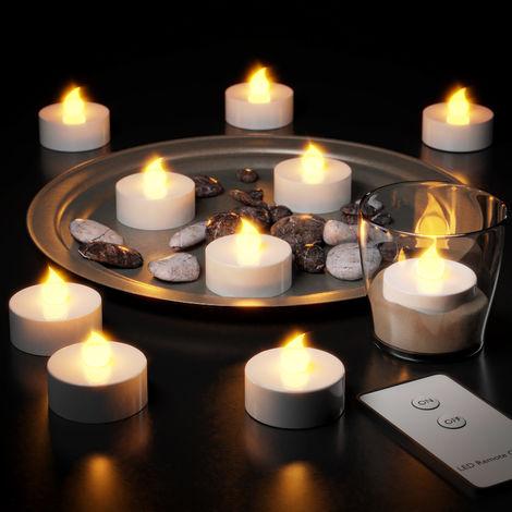 Set 10 velas LED con luz blanca con Mando a Distancia