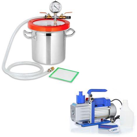 Set 100 l/min Pompa per vuoto + camera di degasaggio Trappola in resina Camera