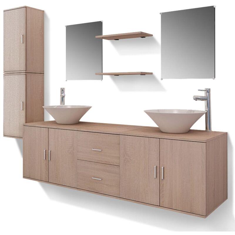 Set 11 Mobili per bagno con lavandino con rubinetto beige -