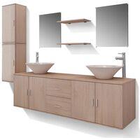 Set 11 Mobili per bagno con lavandino con rubinetto beige