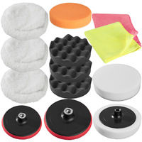 Set 13 Pièces Bonnets Éponges et Disques de Polissage Auto pour Polisseuse Rotative