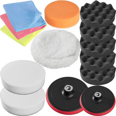 Set 14 Pièces Bonnets Éponges et Disques de Polissage Auto pour Polisseuse Rotative