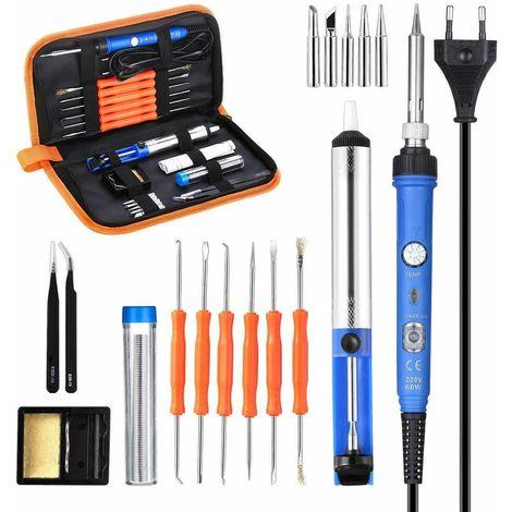 Set 17pcs 60W Adjustable Temperature Soldering Iron 60W Electric Welding ¡æ EU 220V