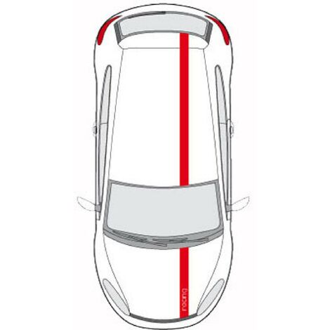Set 2 Adhesifs -BANDES LOOK RACING- Rouge - PROMO ADN - Car Deco Generique