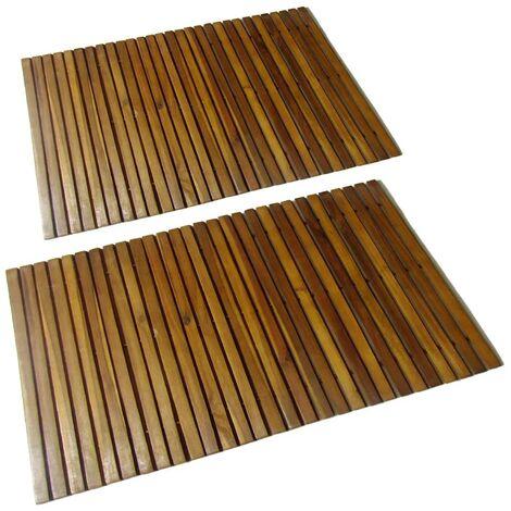 Set 2 alfombras de acacia para el baño, 80 x 50 cm