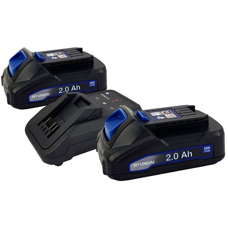 Set 2 Batteries outil électroportatif - HYUNDAI HBA20U2 - 2Ah avec Chargeur HFC20U - Compatible avec la gamme 20V