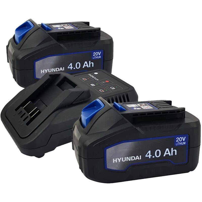 Set 2 Batteries pour outil électroportatif - HYUNDAI HBA20U4 - 20V - 4Ah avec Chargeur HFC20U - Compatible avec la gamme 20V