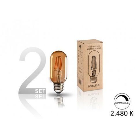 SET 2 BOMBILLAS LED ·VINTAGE· T45 8W E27