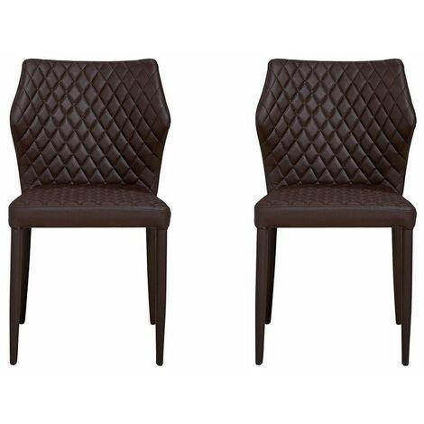 Set 2 Chaises Ara Rembourres - avec Dossier - pour Sejour, Salle a Manger - en Metal, Tissu, 56 x 47 x 84 cm