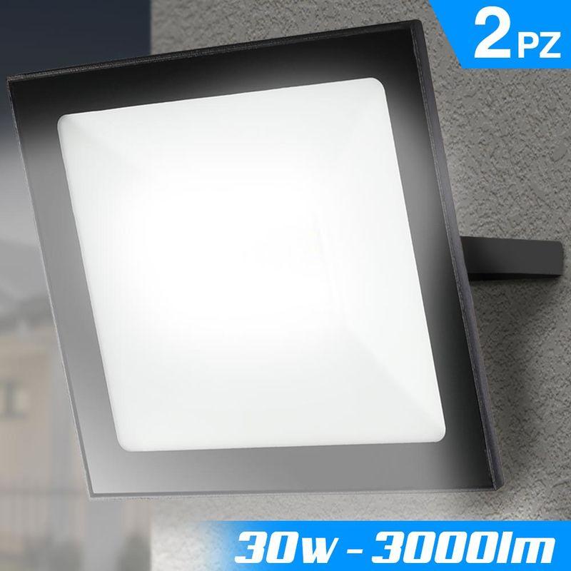 Set 2 Fari Led 30W Luce Alta Luminosita 3000lm Bianco Faro Faretti Esterno Slim