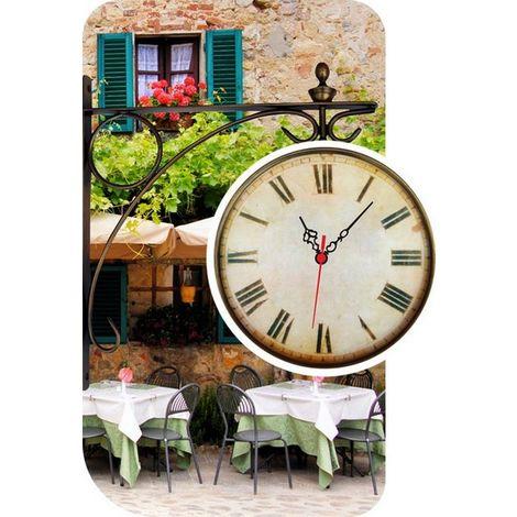 Set 2 Horloges Murale - Paysage - pour Sejour, Cuisine - Multicolore en MDF, 48 x 0,4 x 70 cm