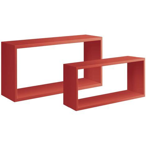 Set 2 Mensole da muro in legno, design a Cubo bislungo