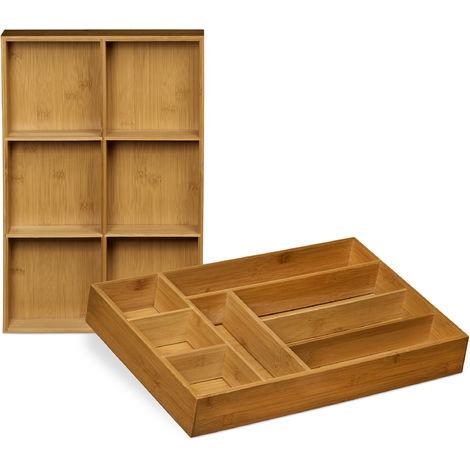 Set 2 Organizadores Cajones Ajustables, Separador Cajón Cocina, Cubertero, Bambú, 6,5 x 30,5 x 46 cm, Marrón