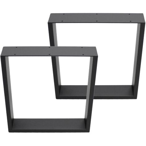Set 2 Pieds de table industriel rectangulaire support banc meuble gris 30x43cm