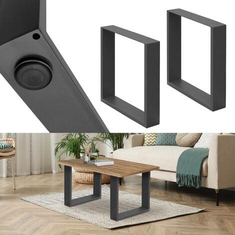 Set 2 Pieds de table industriel rectangulaire support banc meuble gris 40x43cm
