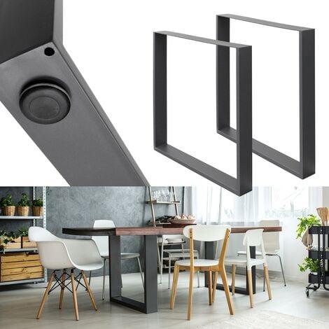 Set 2 Pieds de table industriel rectangulaire support banc meuble gris 70x72cm
