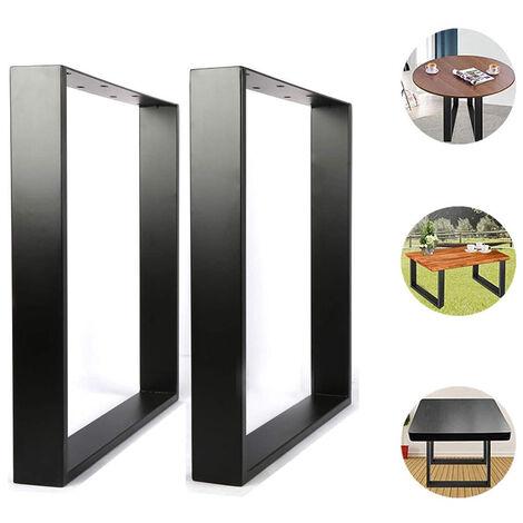 Set 2 Pieds de table industriel rectangulaire support banc meuble noir 60x72cm
