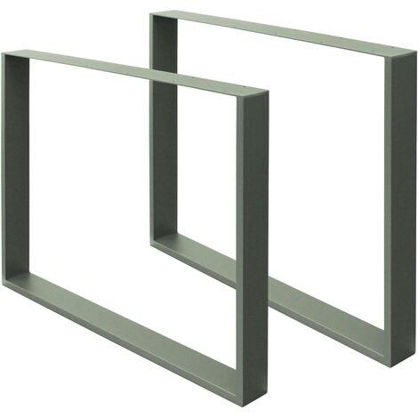 Set 2 Pieds de table industriel support banc meuble bureau gris en acier 80x72cm