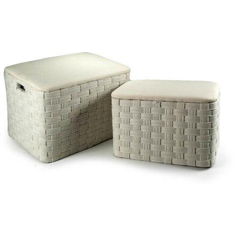 Pouf Contenitore Design.Set 2 Pouf Contenitori Rettangolari Tessuto Bianco Arredo Casa Design Xm032s 2