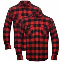 Set 2 pz Camicia di flanella a quadri da uomo rosso e nero taglia XXL 24df03616843