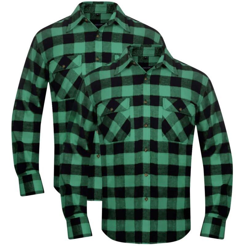 online store 84f5c e4668 Set 2 pz Camicia di flanella a quadri da uomo verde e nero taglia L