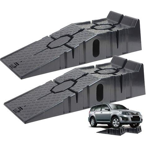 """main image of """"SET 2 Rampas para Coches 2500 KG 2,5 Toneladas de Plastico Muy Resistentes para Turismos o Furgonetas [ 90 x 33 x 22 cm ]"""""""