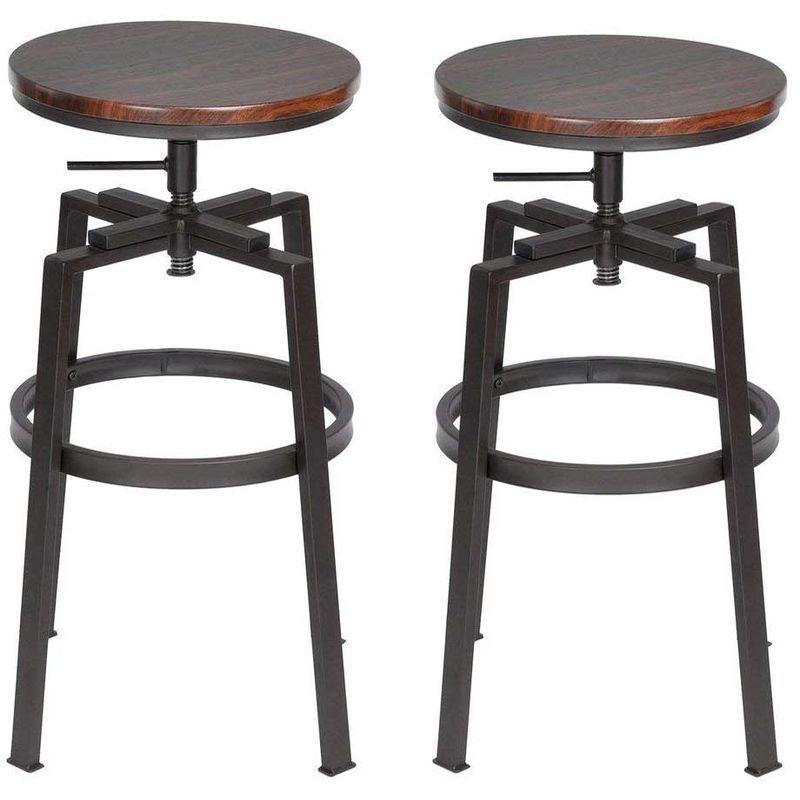 Sgabelli Bar Cucina.Set 2 Sgabelli Bar Cucina Design Vintage In Legno E Metallo Altezza Regolabile