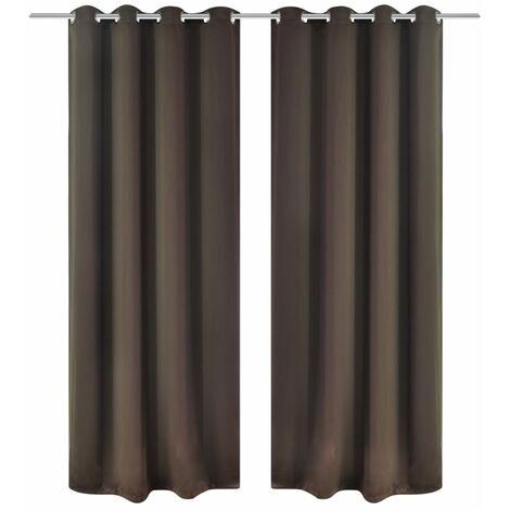 Set 2 Tende Oscuranti Marroni Con Anelli Metallo Blackout 135 X 245 Cm