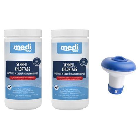 SET: 2 x Chlortabletten, Schnellchlor Tabletten 20g, Schnell ChlorTabs, 1 KG mediPOOL und 1 Mini-Dosierer
