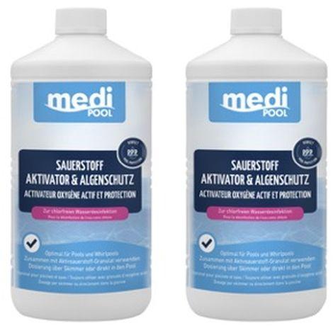 SET: 2 x Sauerstoff Aktivator und Algenschutz 1 L mediPOOL