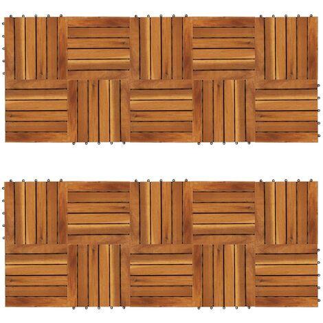 Set 20 baldosas de acacia con modelo vertical, 30 x 30 cm