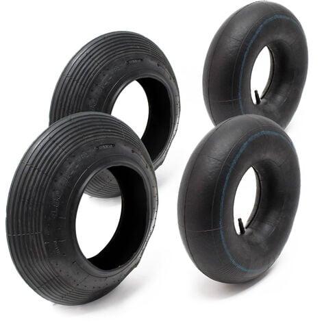 Set 2x cámaras aire 2x cubiertas rueda carretilla 4.00-8 Válvula TR13 Jardinería Construcción