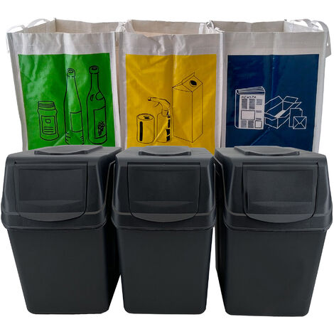 Set 3 bacs de recyclage en anthracite 60L + 3 sacs de recyclage blancs réutilisables