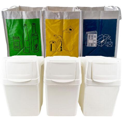 Set 3 bacs de recyclage en blanc 60L + 3 sacs de recyclage blancs réutilisables