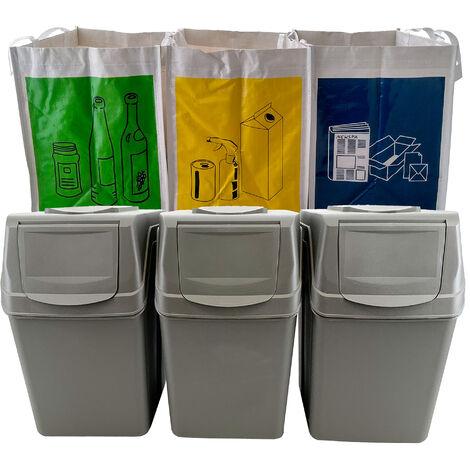 Set 3 bacs de recyclage en gris 60L + 3 sacs de recyclage blancs réutilisables