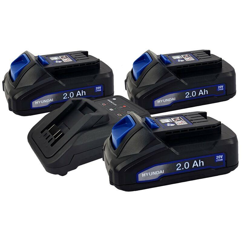 Set 3 Batteries pour outil électroportatif - HYUNDAI HBA20U2 - 20V - 2Ah avec Chargeur HFC20U - Compatible avec la gamme 20V