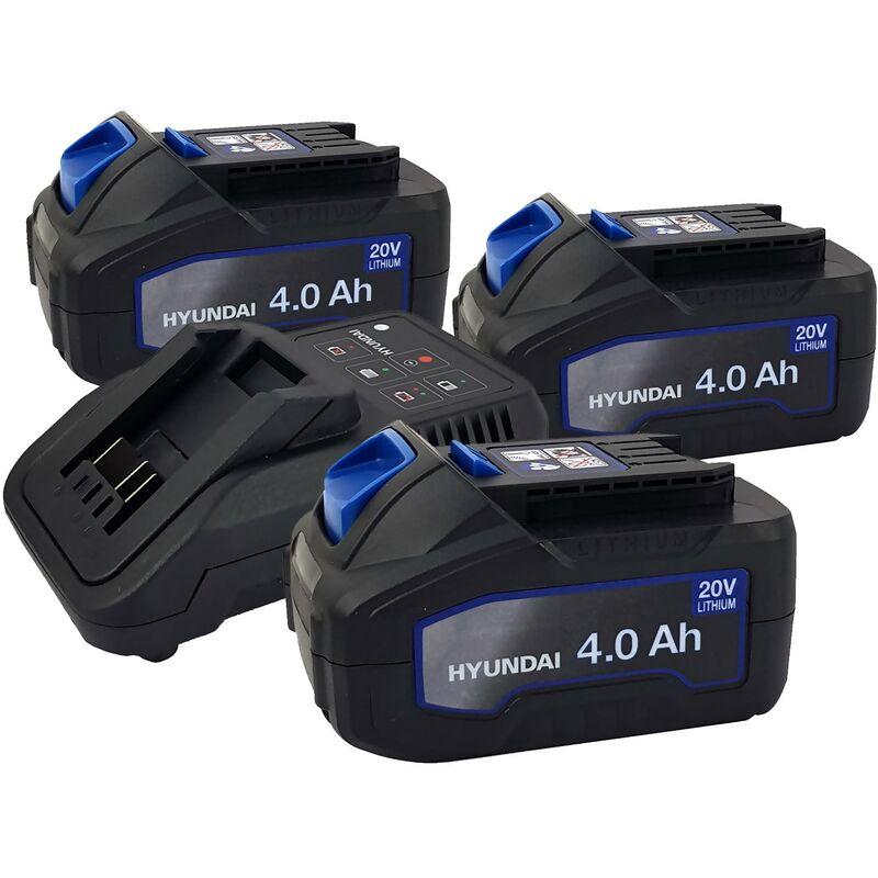 Set 3 Batteries pour outil électroportatif - HYUNDAI HBA20U4 - 20V - 4Ah avec Chargeur HFC20U - Compatible avec la gamme 20V